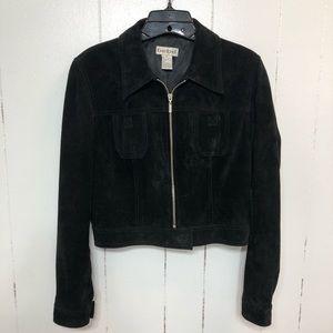 Bebe Black Sueded Full Zip Jacket